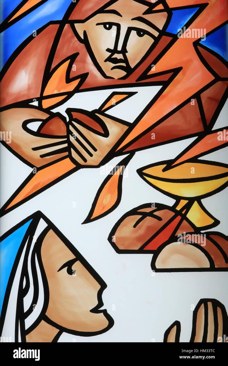 La multiplication des pains. Eglise Notre-Dame du Val. Bussy-Saint-Georges. - Stock Image