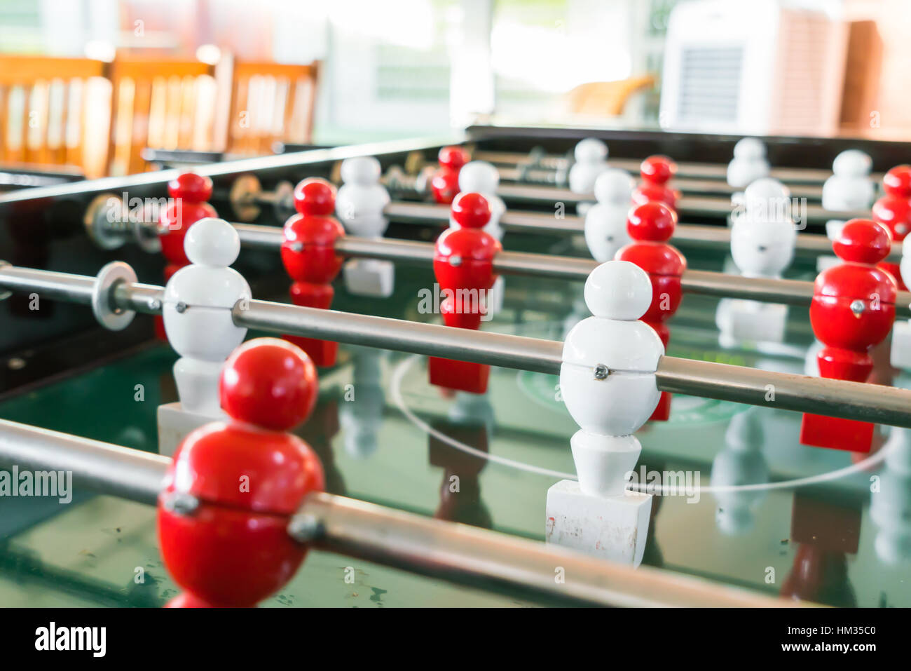 Football table game with red and white player Stock Photo