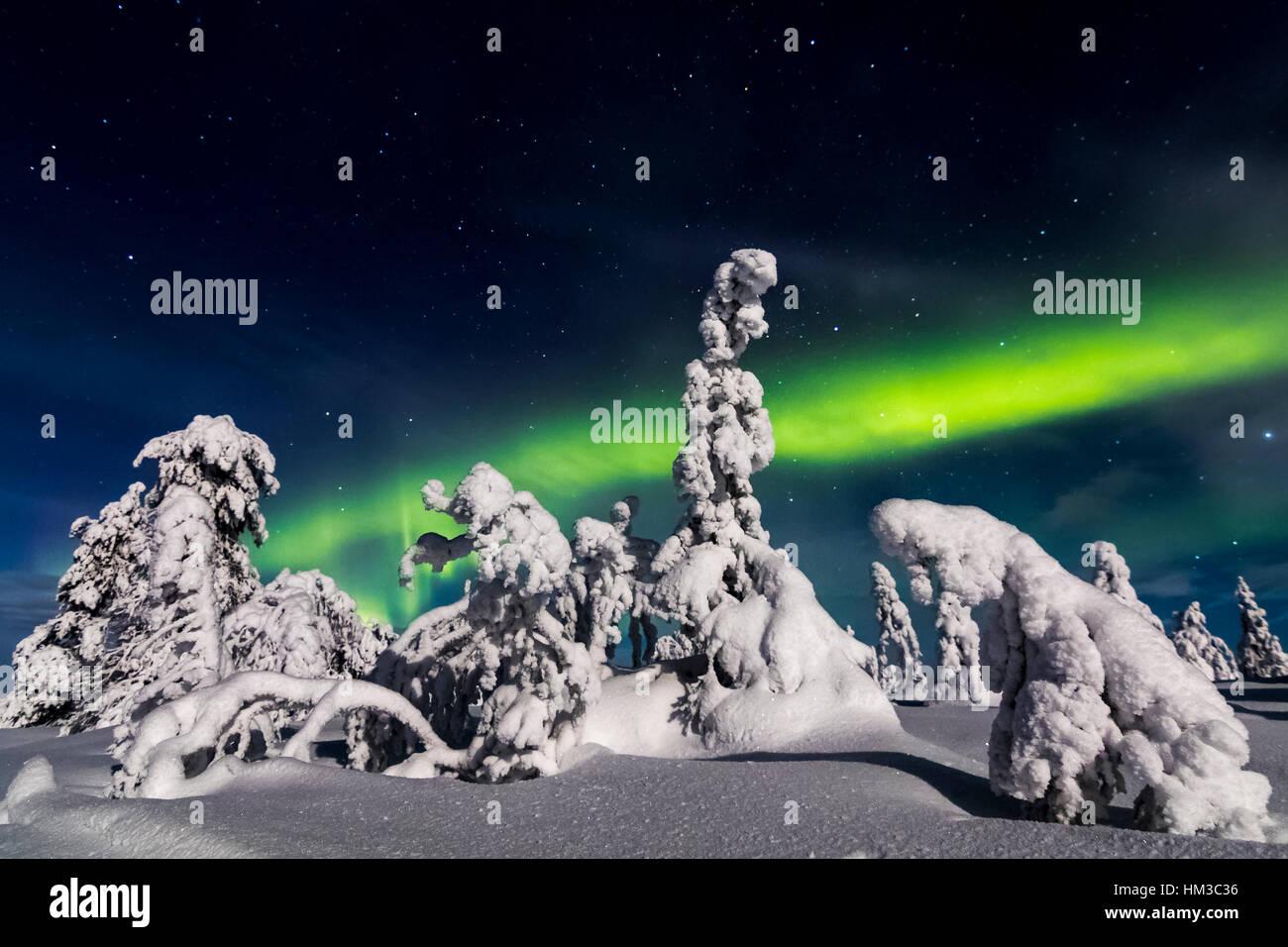 Northern lights in Riisitunturi national park, Finland - Stock Image