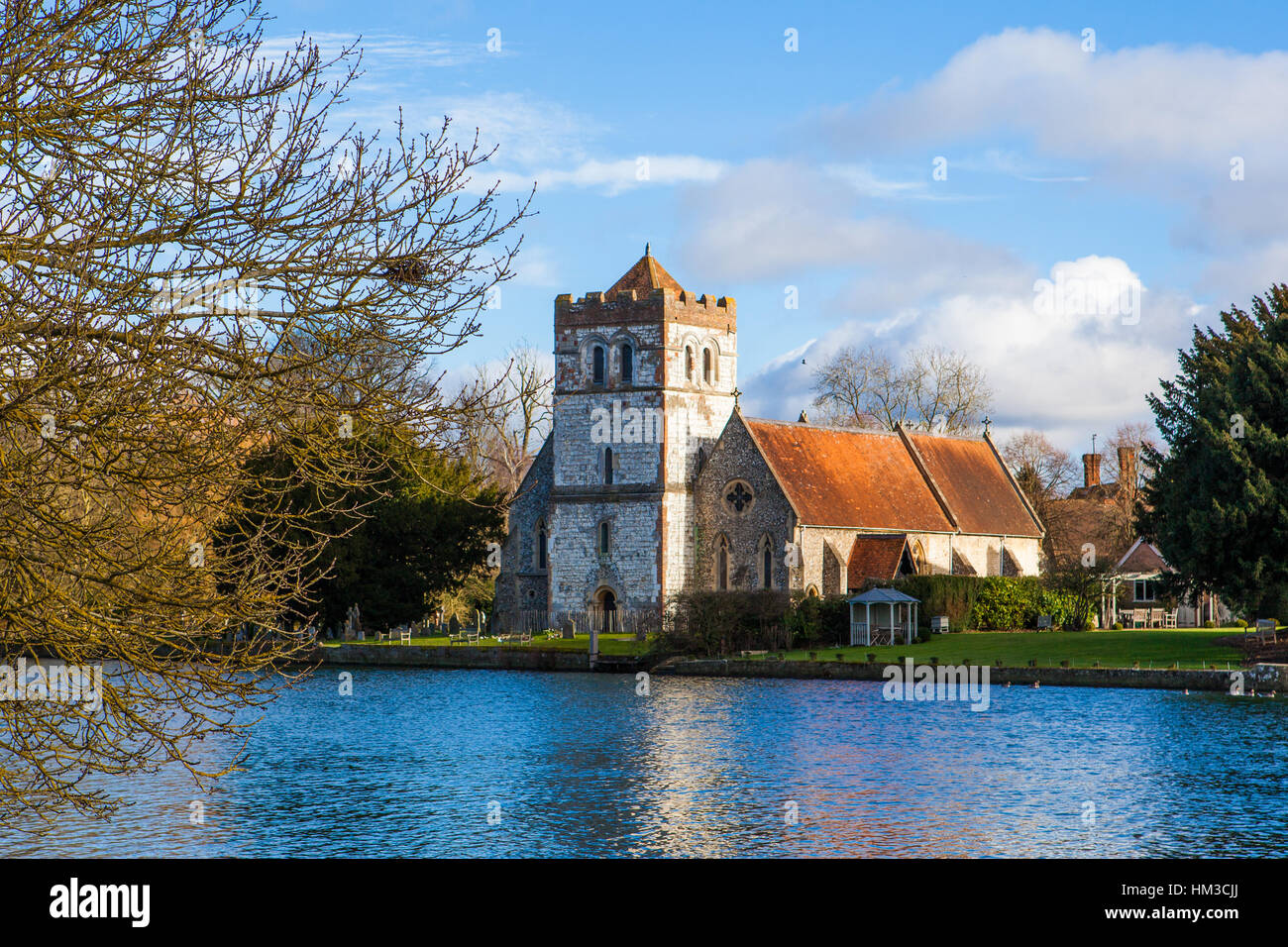 Church on the River Thames - Stock Image