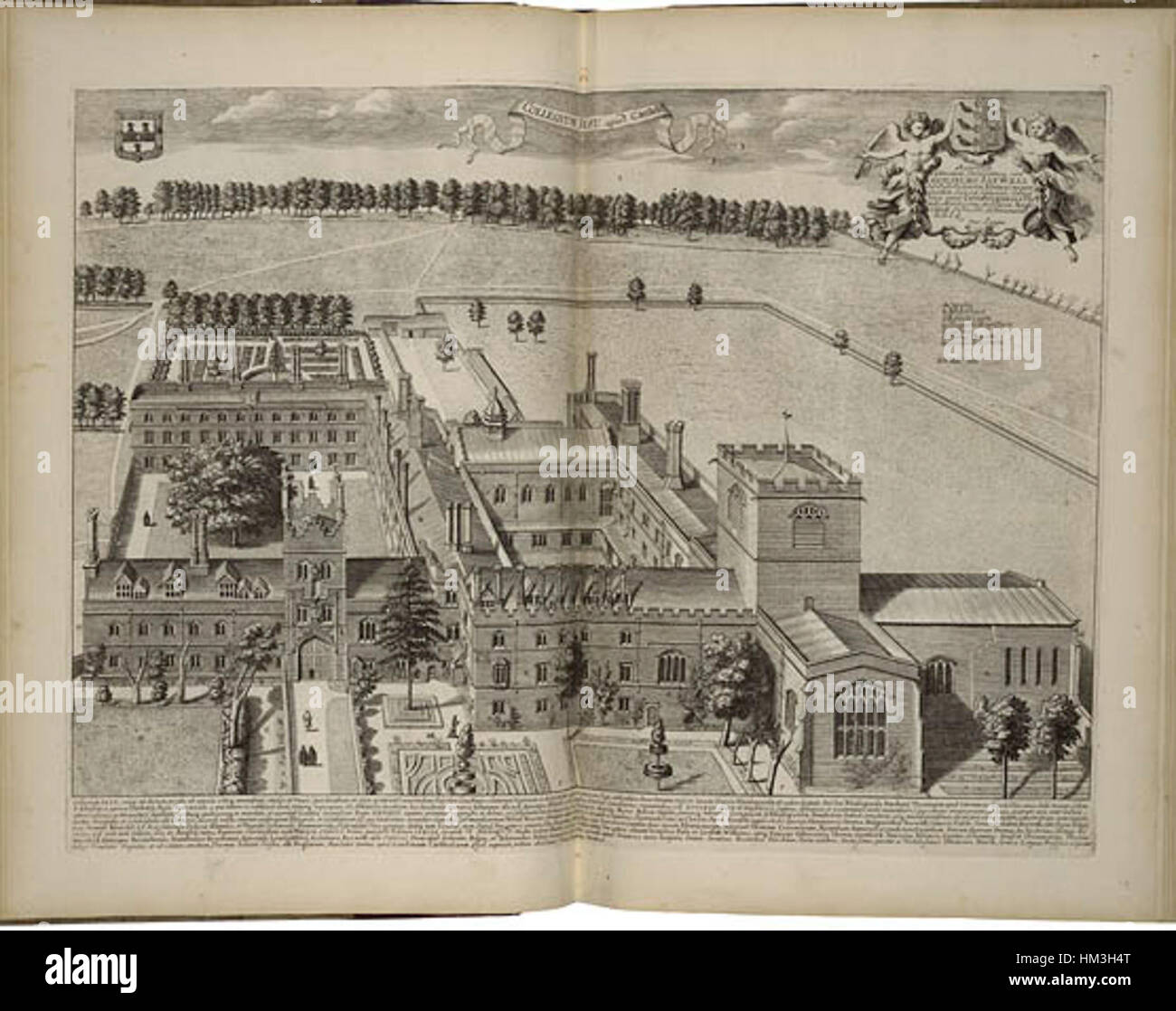 Jesus College, Cambridge by Loggan 1690 - Folger 046539W5 - Stock Image