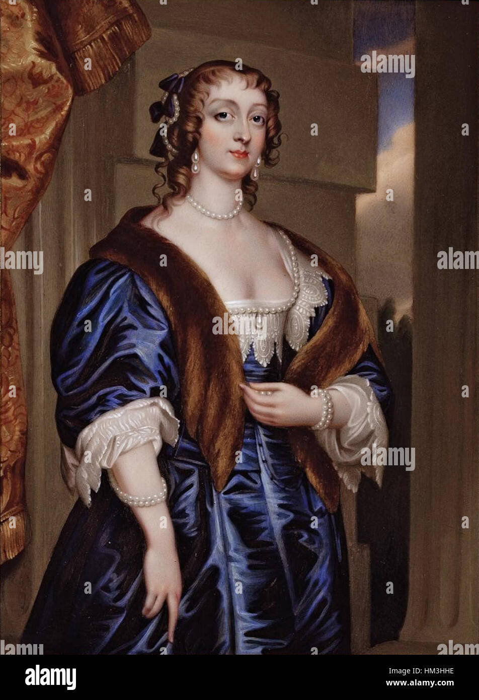 Lady Margaret Feilding, Duchess of Hamilton by Henry Pierce Bone after Anthony van Dyck - Stock Image