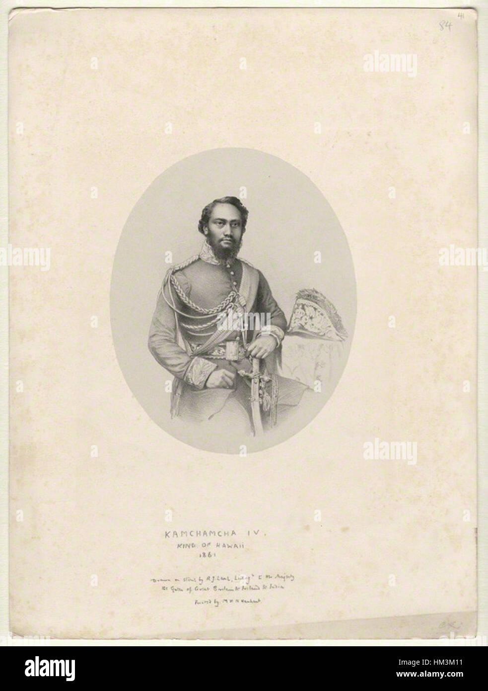 Kamehameha IV by Richard James Lane, lithograph, 1861 - Stock Image