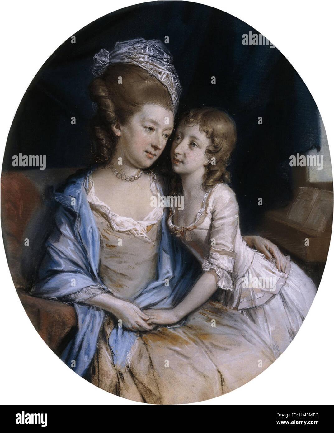 Hugh Douglas Hamilton - Portrait of a Mother and Child - Stock Image