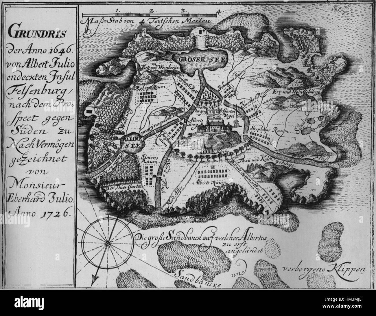 Insel Felsenburg map - Stock Image