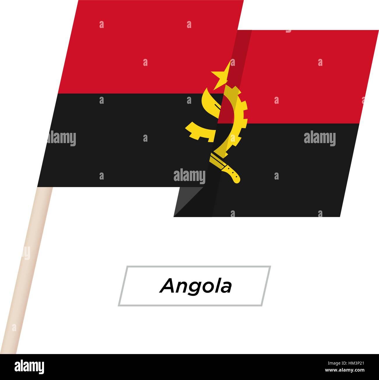 Angola Ribbon Waving Flag Isolated on White. Vector Illustration. - Stock Vector