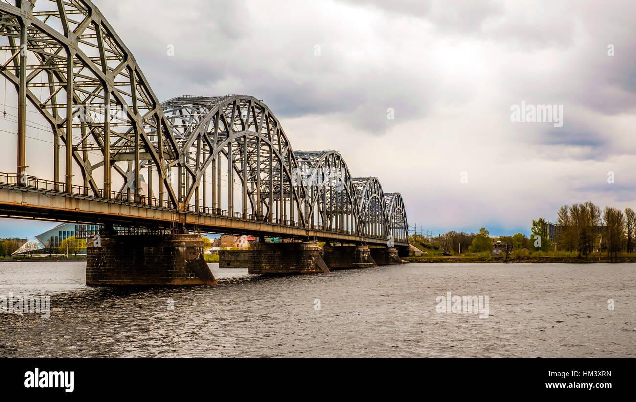 A railway iron bridge - Stock Image