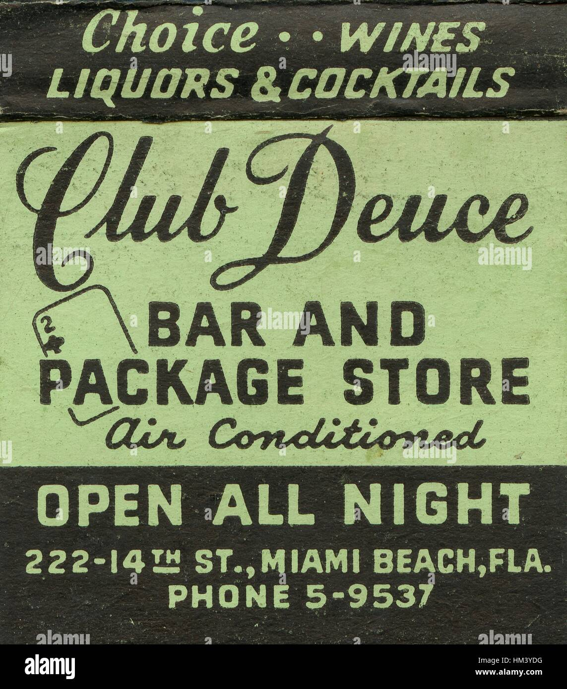 Match book advertisement image for Mac's Club Deuce, a dive bar known as the oldest bar in Miami, with text - Stock Image