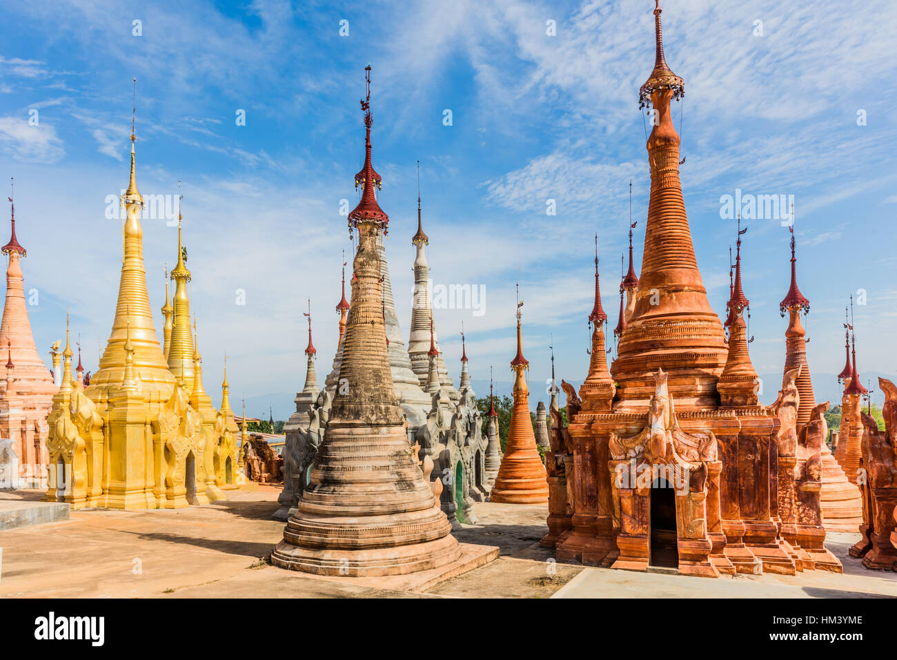 stupas of the Shwe Inn Dein Pagoda at Inle Lake Shan state in Myanmar (Burma) - Stock Image