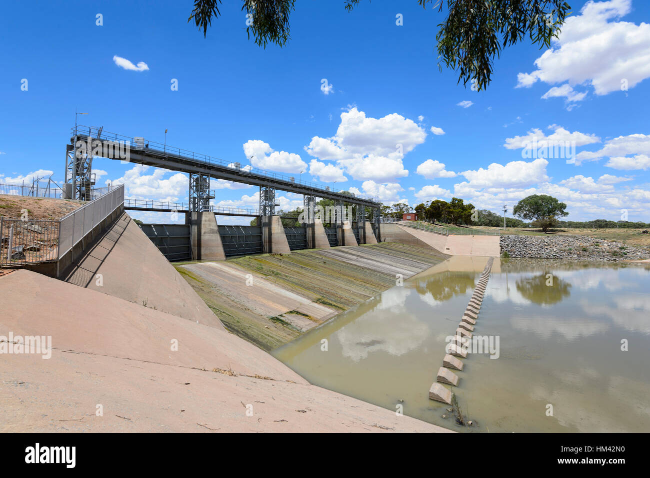 The Main Weir on Menindee Lakes is located along the Darling River and supplies water to Broken Hill, New South - Stock Image