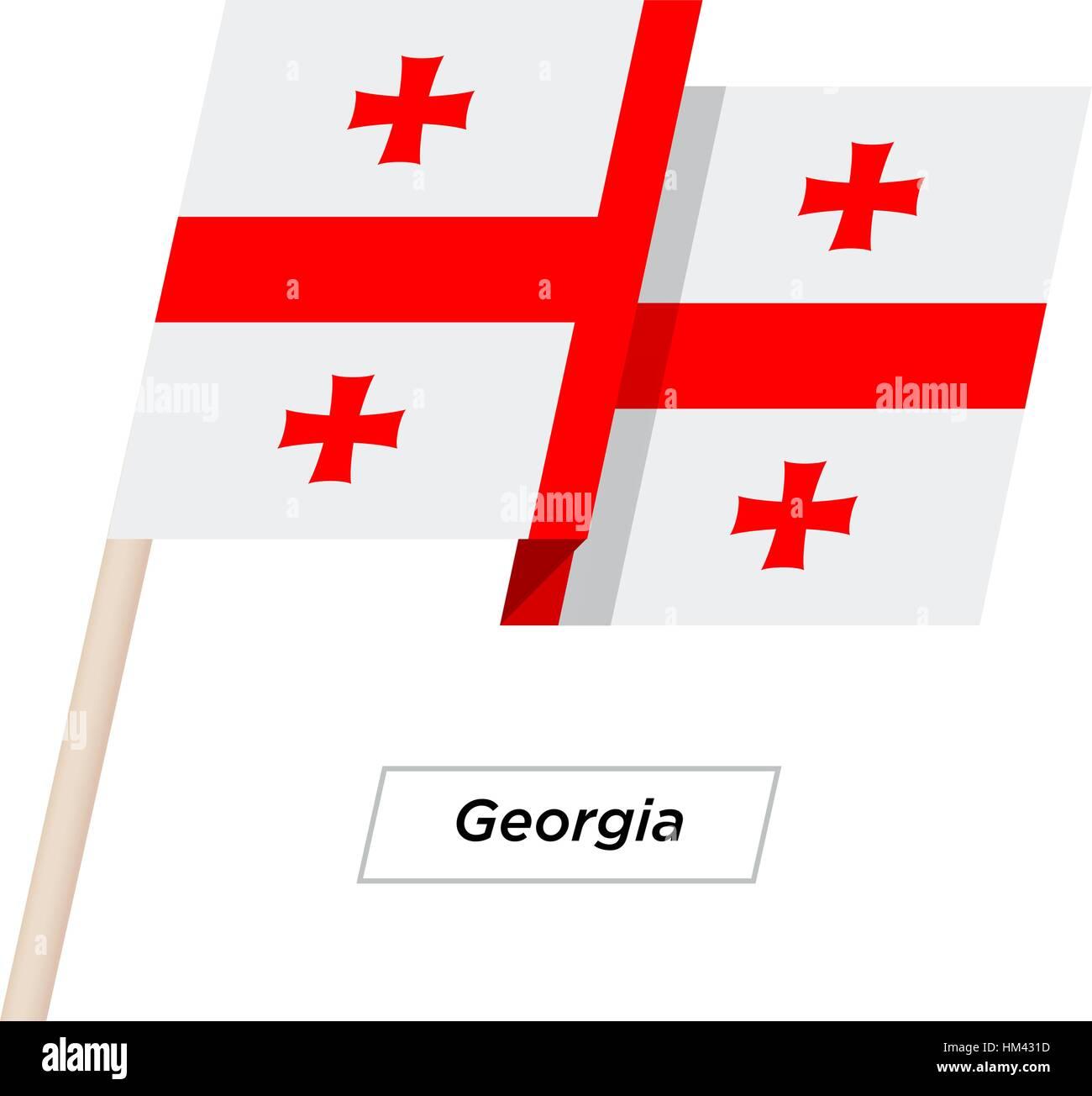 Georgia Ribbon Waving Flag Isolated on White. Vector Illustration. - Stock Image