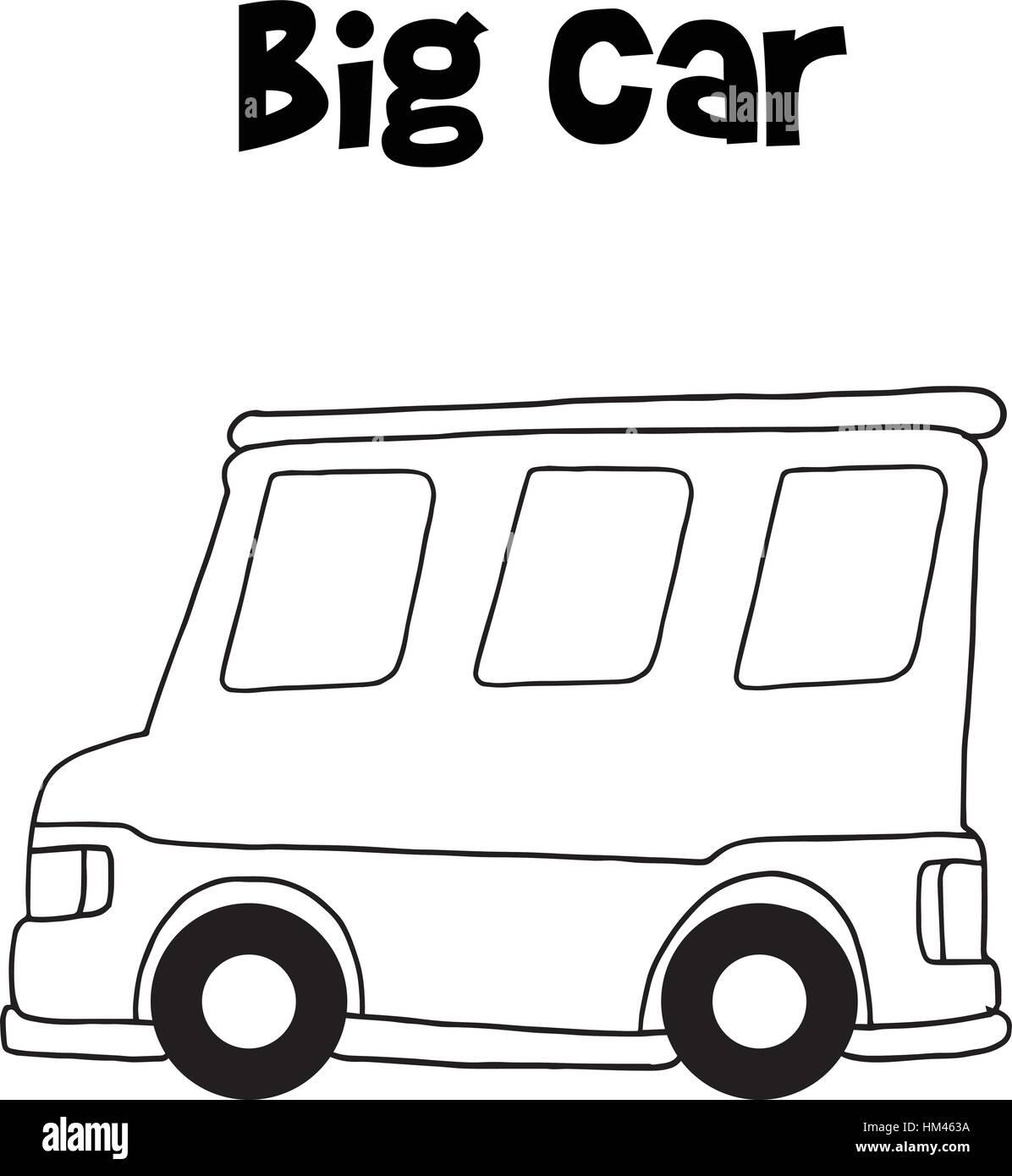 Big car of hand draw - Stock Image
