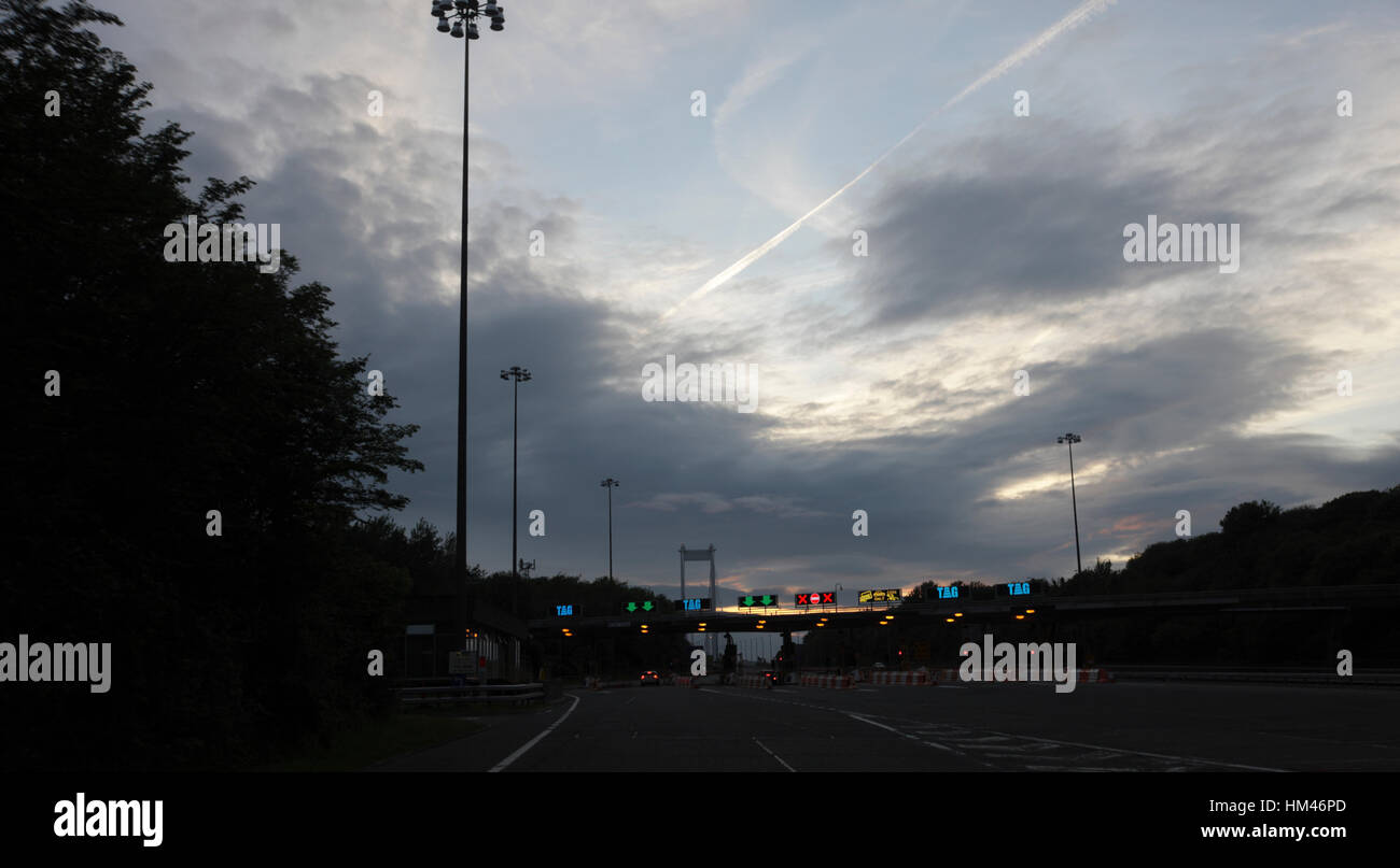 Tol Plaza, M48 Severn Bridge crossing the River Severn Wales and England border. - Stock Image