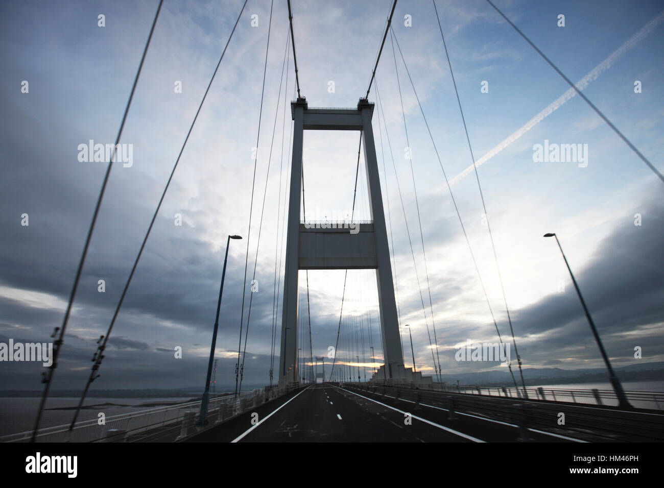 M48 Severn Bridge crossing the River Severn Wales and England border. - Stock Image