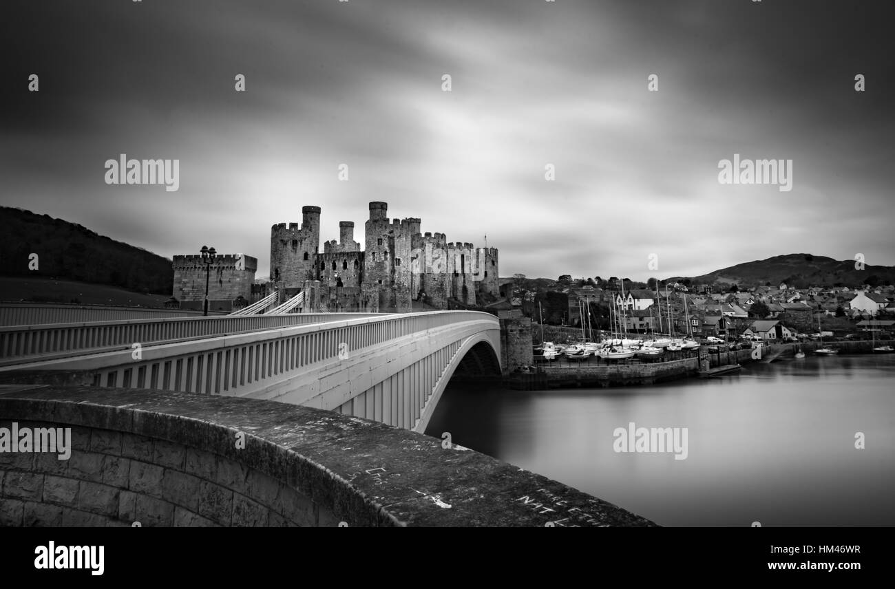 Conwy Castle is a medieval fortification in Conwy, on the north coast of Wales. It was built by Edward I, - Stock Image