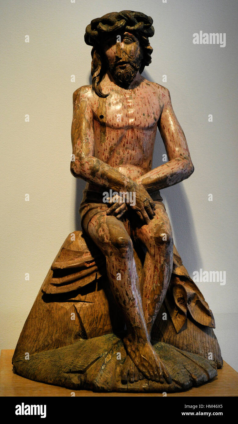 Polychrome carving. Passion of Christ. Jesus in the column. Germany. Second half of the 14th century. Museum of - Stock Image