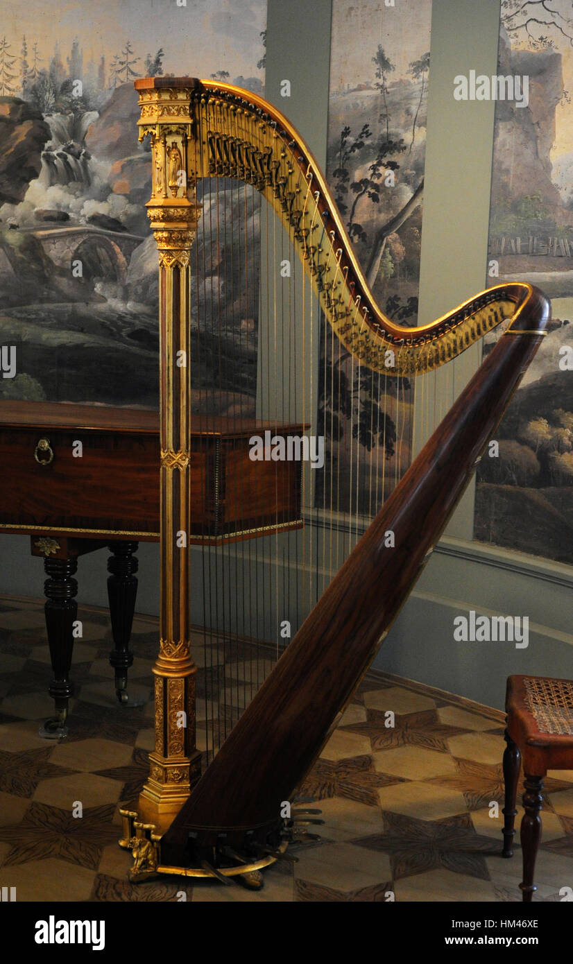 Harp. Stringed musical instrument. Museum of the City of Malmo. Sweden. - Stock Image