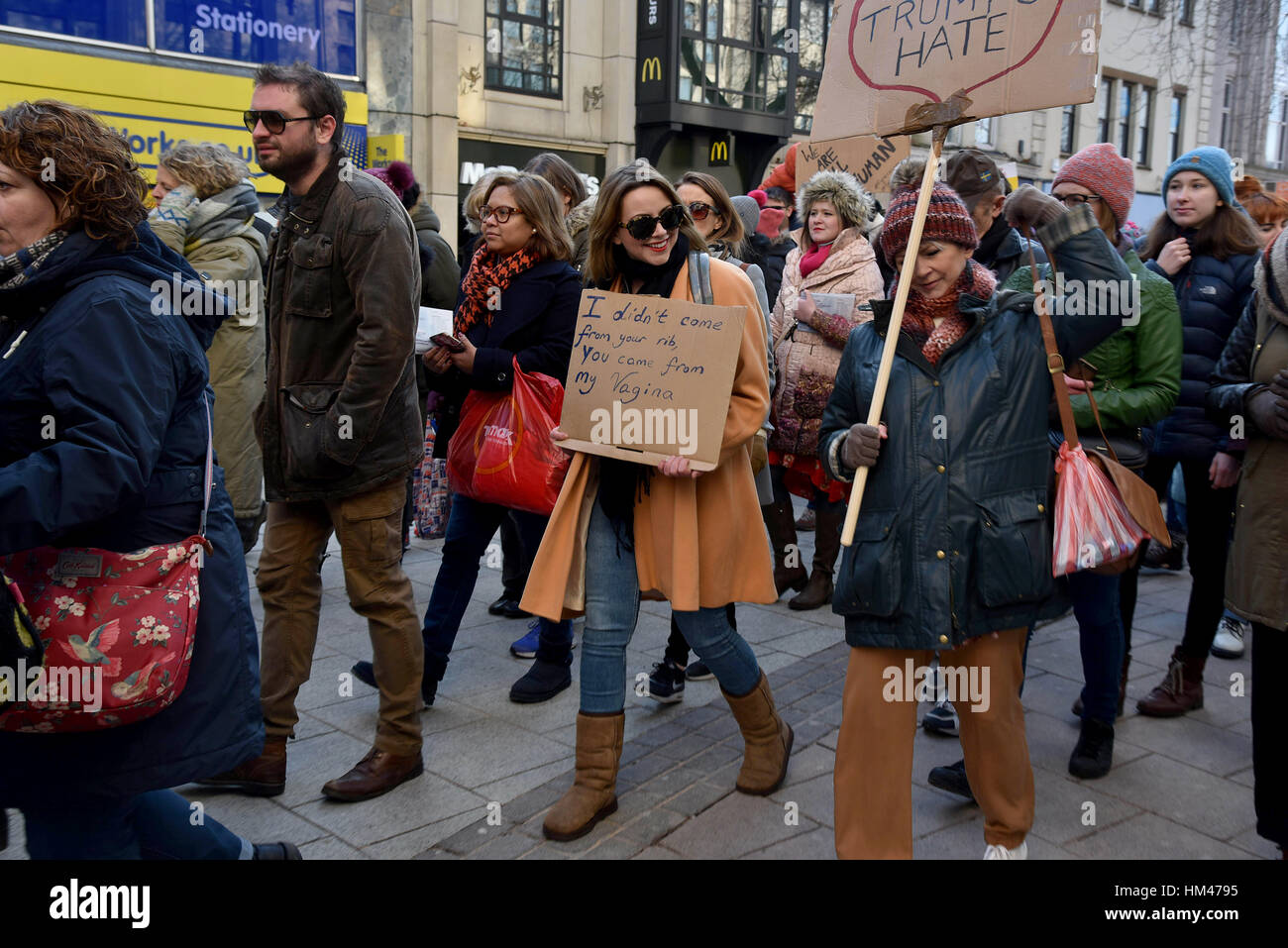 Women's No to Trump, protest and march, Cardiff. Charlotte Church, pictured. - Stock Image