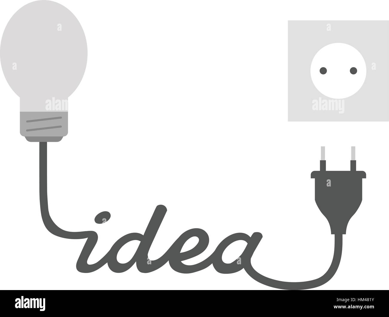 Vector Grey Light Bulb With Idea Wire Electrical Plug And Outlet