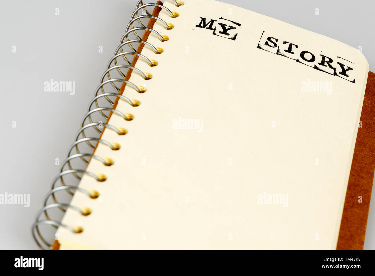 My story book on the white, Diary with text - Stock Image