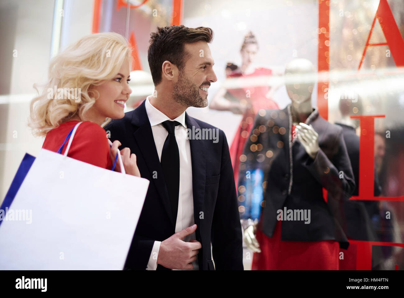 Close up of mature couple in the shopping mall - Stock Image