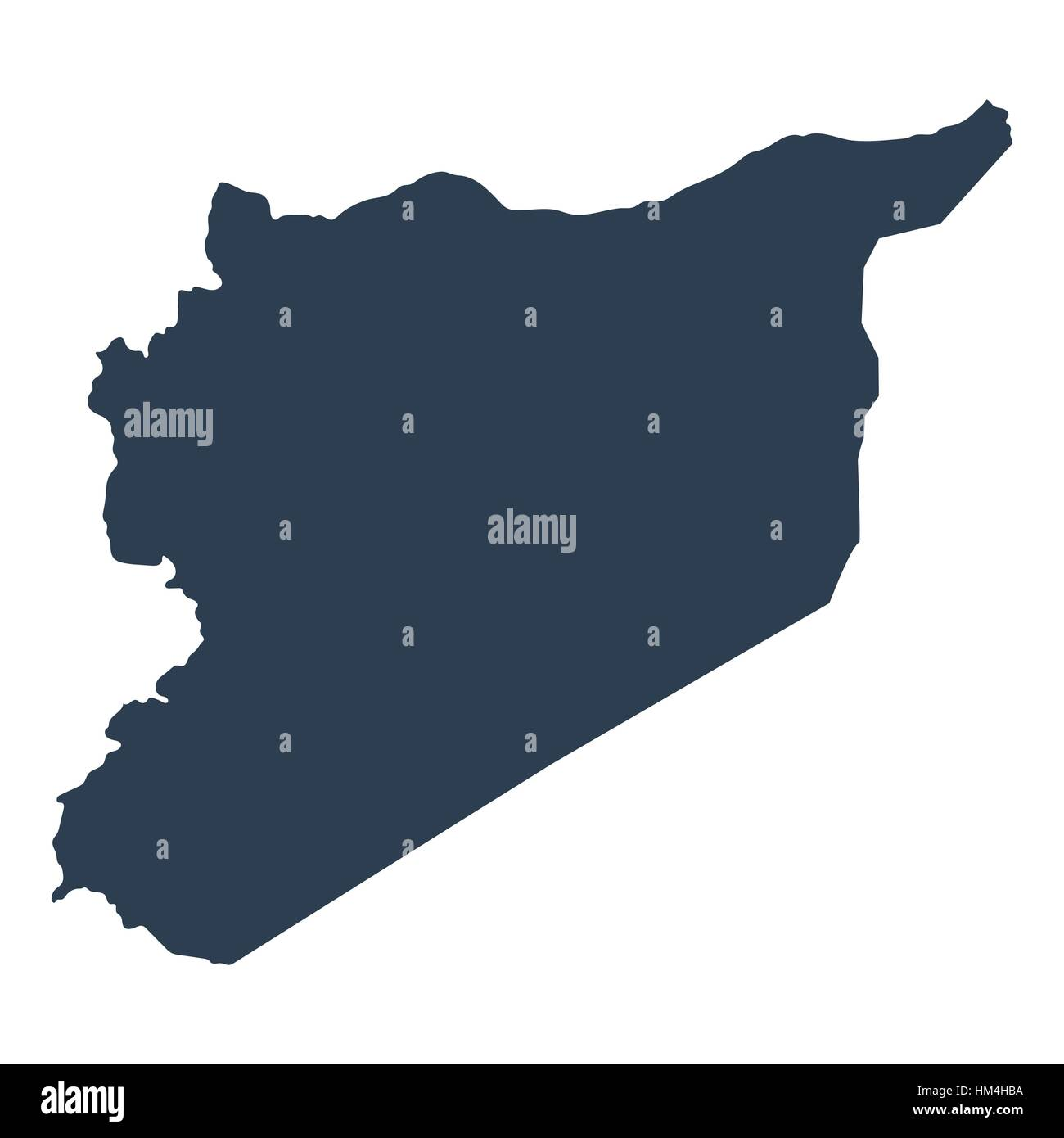 Map Syria geographical political on a white background closeup - Stock Image