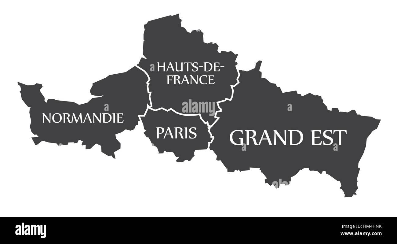 Normandie - Paris - Hauts-de-France - Grand Est Map France Stock ...
