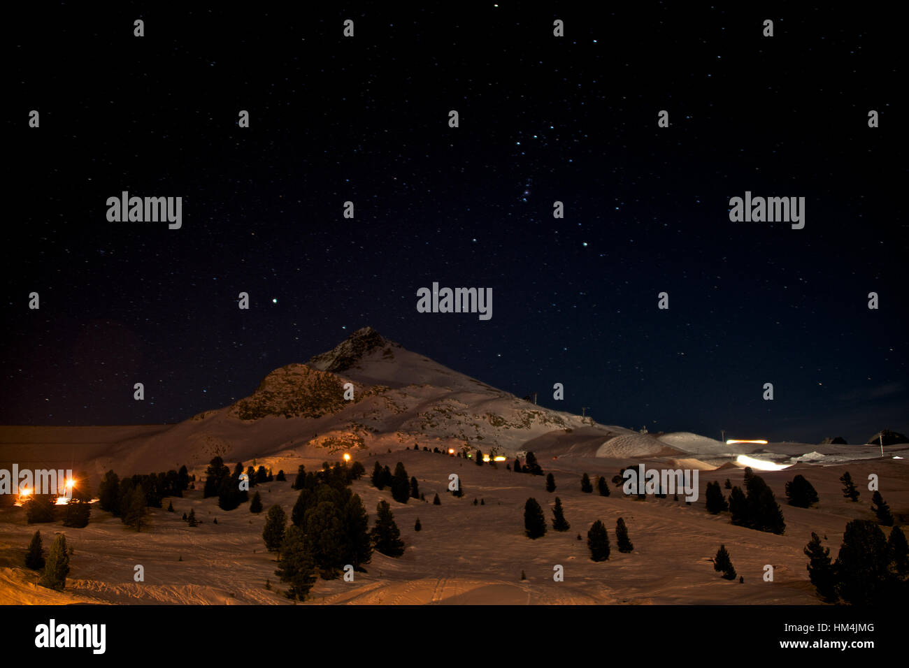 The Orion constellation  raising over Kuhtai ski resort at night - Stock Image