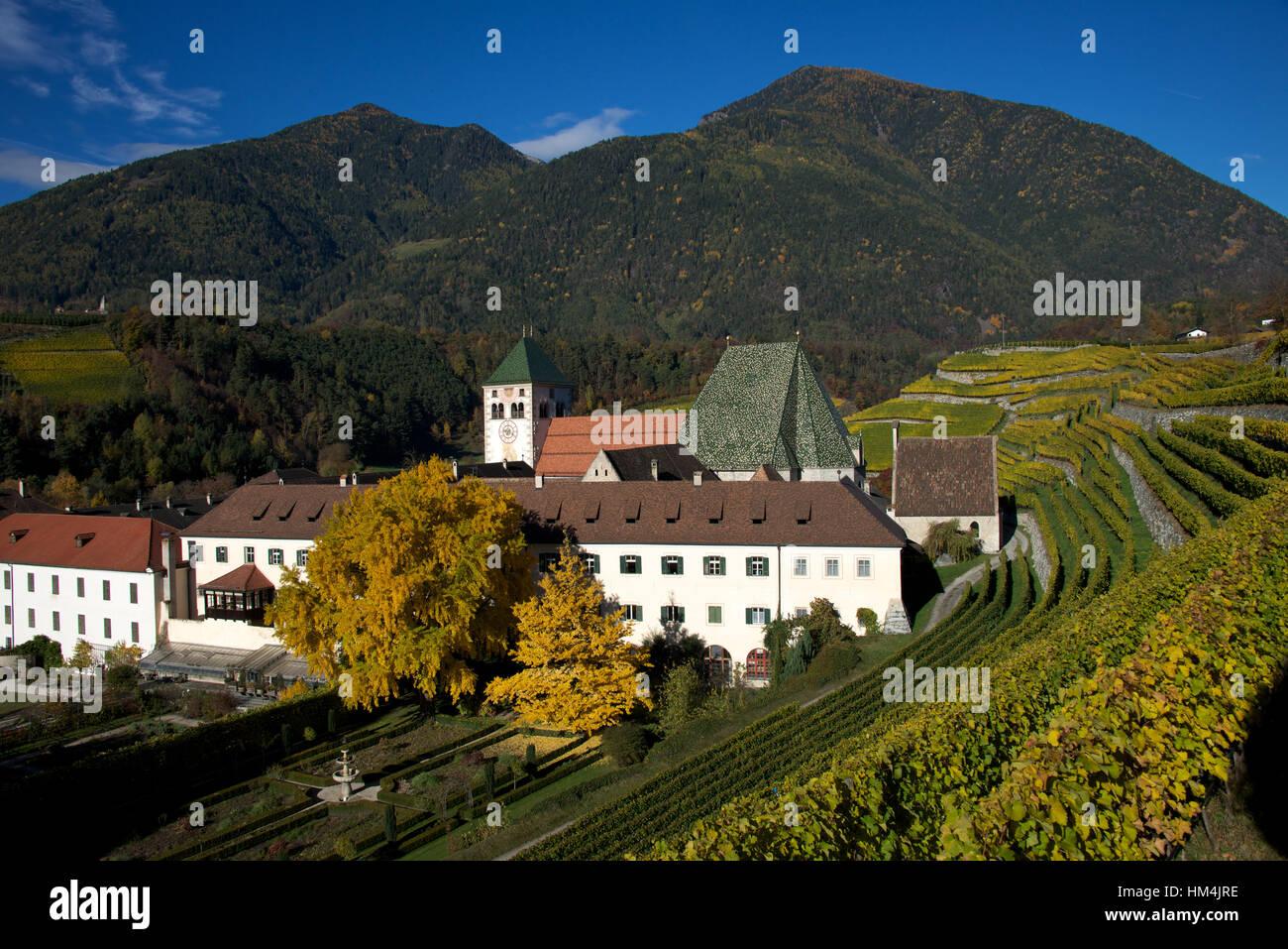 Novacella cloister (Kloster Neustiff or Abbazia Novacella) and vineyards, near Brixens Bressanone, South Tirol, - Stock Image