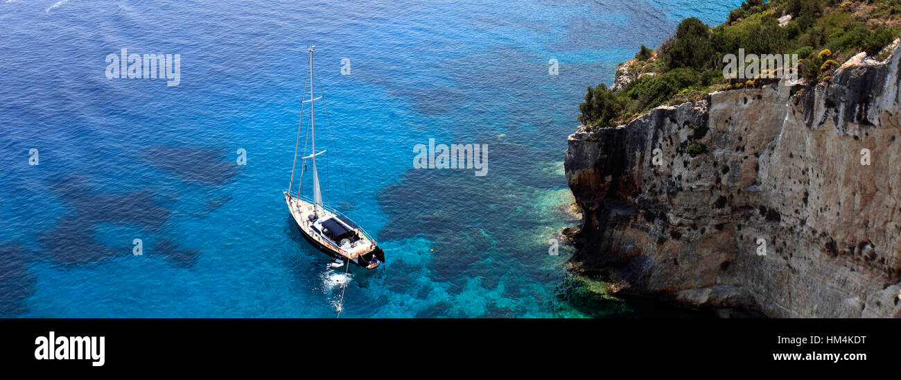 View of the Ionian Sea from Skinari village, Zakynthos Island, Zante, Greece, Europe. - Stock Image
