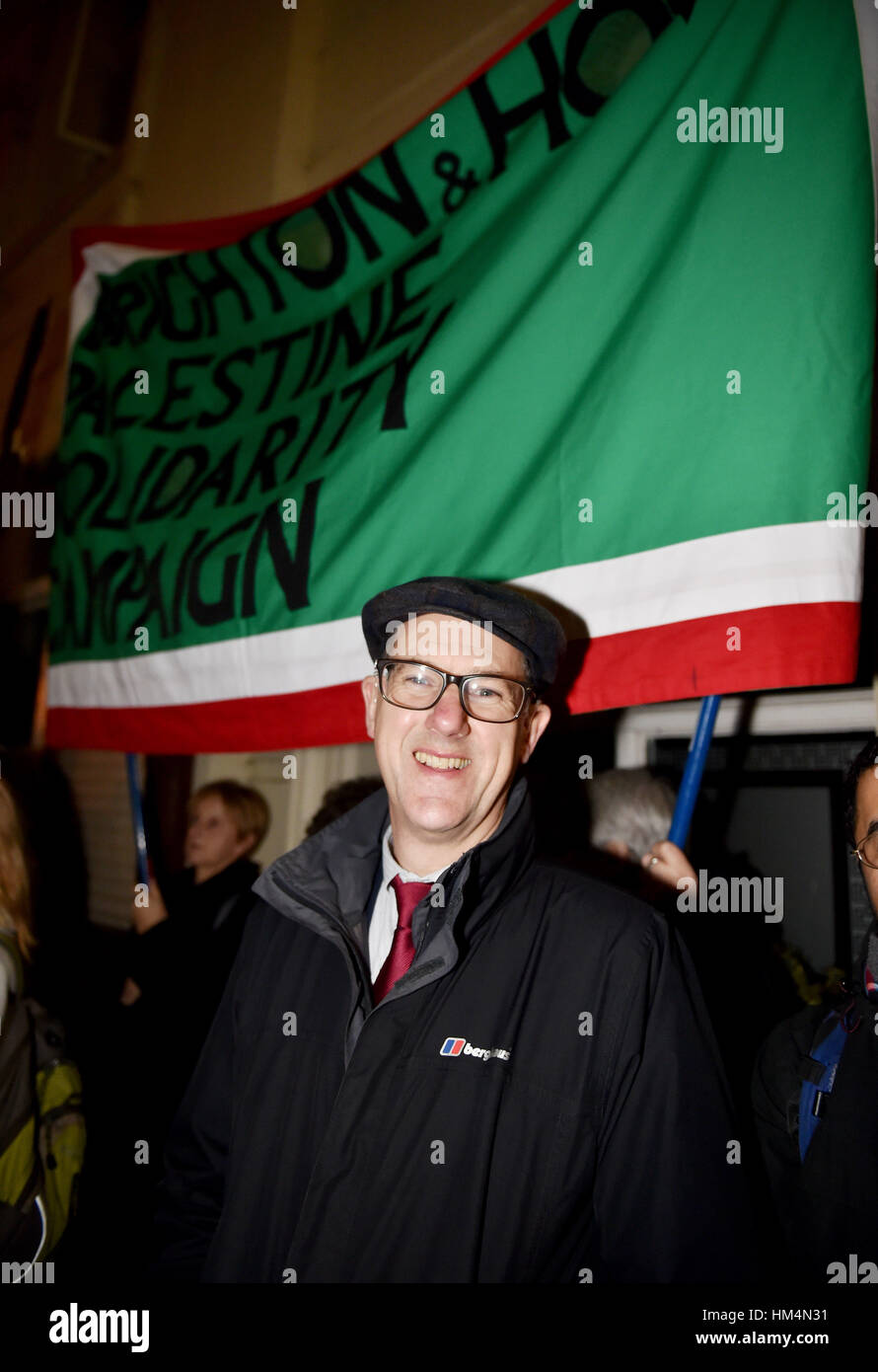 Brighton UK 30th January 2017 - Mayor of Brighton Cllr Pete West amongst thousands of people as they take to the - Stock Image