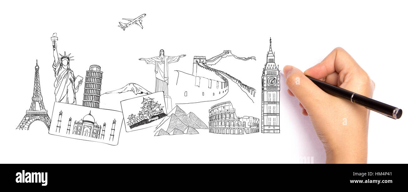 Drawing travel around the world (Japan,France,Italy ,New York,India,egypt,china,london,brazil) - Stock Image