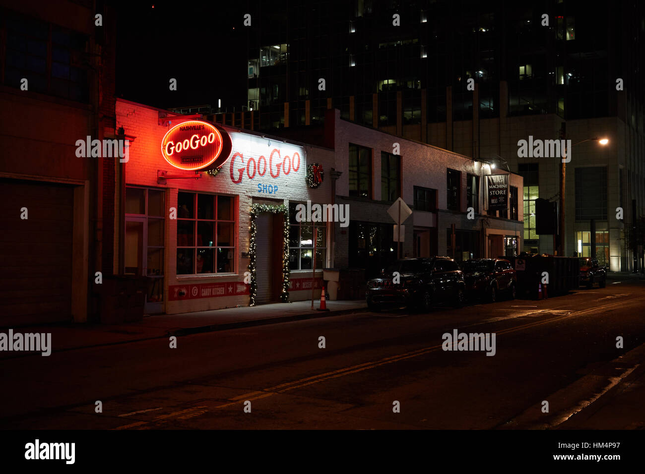 The Goo Goo Shop in Nashville, Tennessee at night Stock