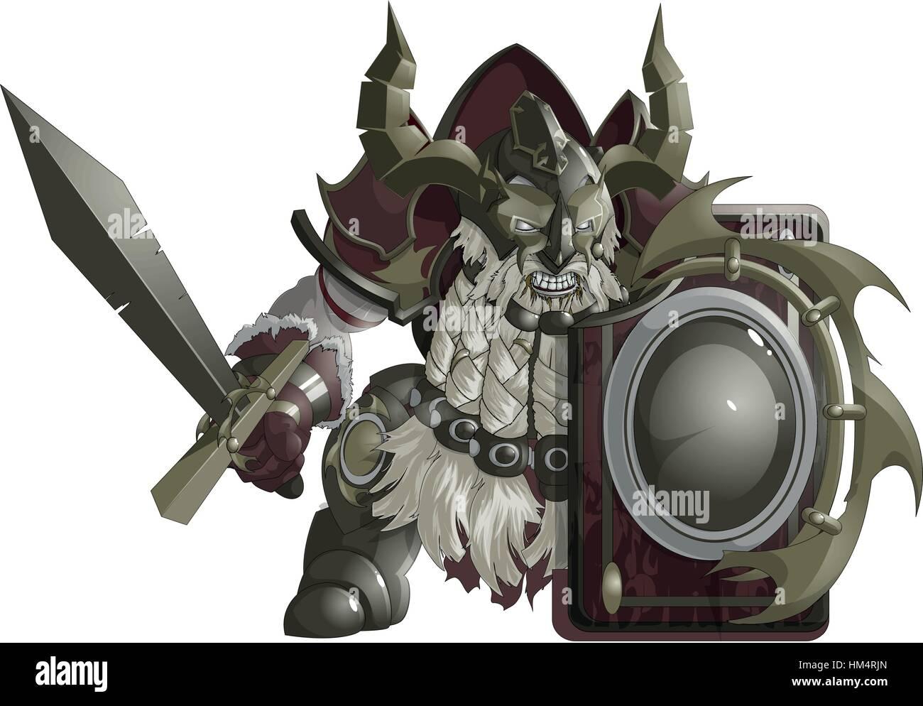 mighty fantasy dwarf - Stock Vector