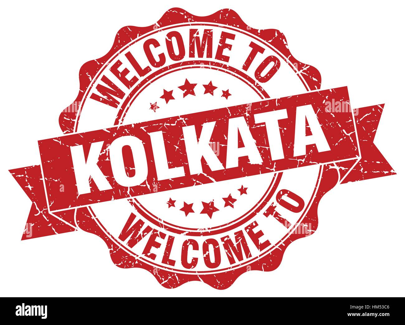 Kolkata round ribbon seal - Stock Vector