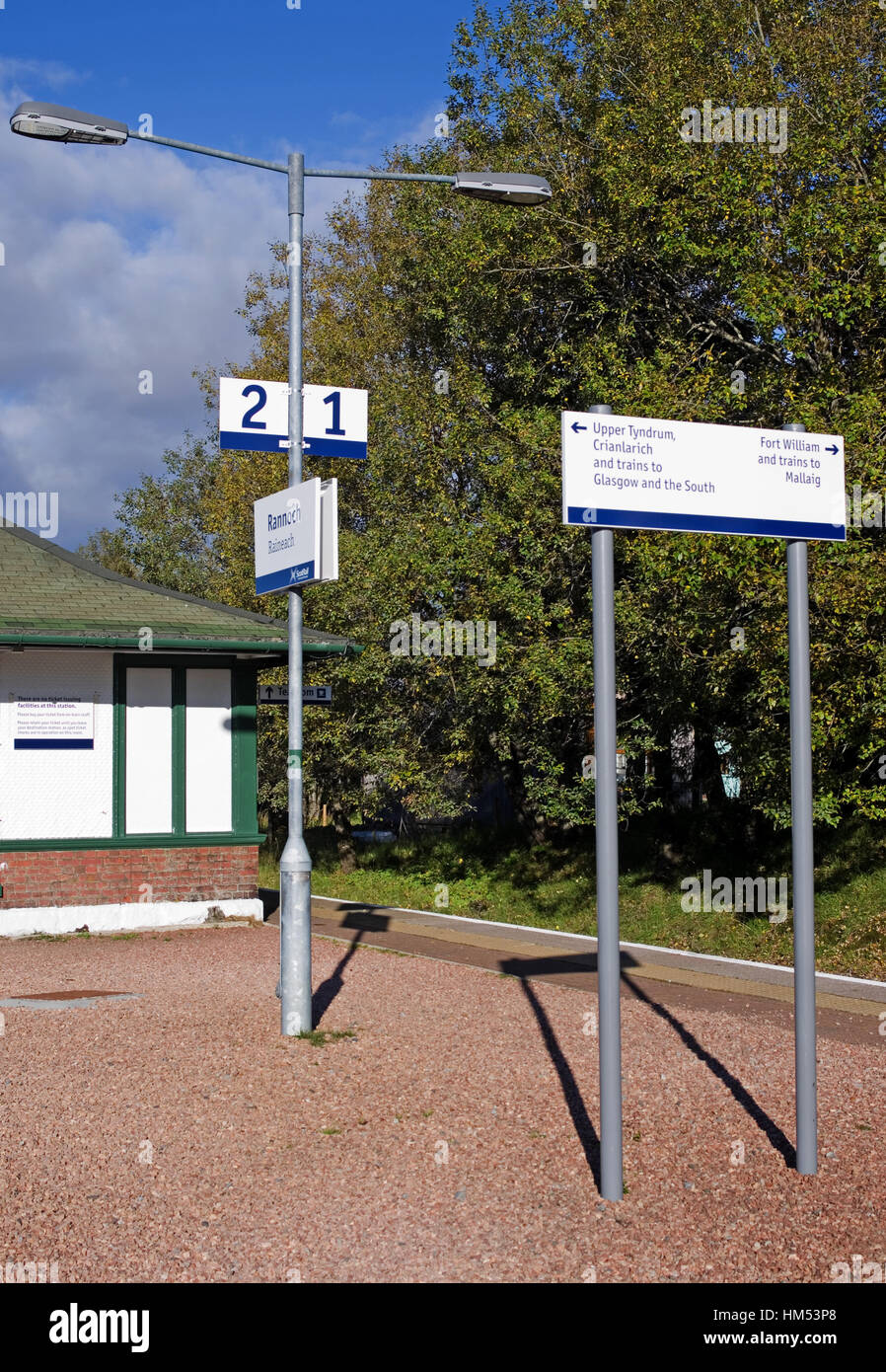 Information signs showing platform numbers and train destinations, on the platform at Rannoch Station, Perthshire, - Stock Image