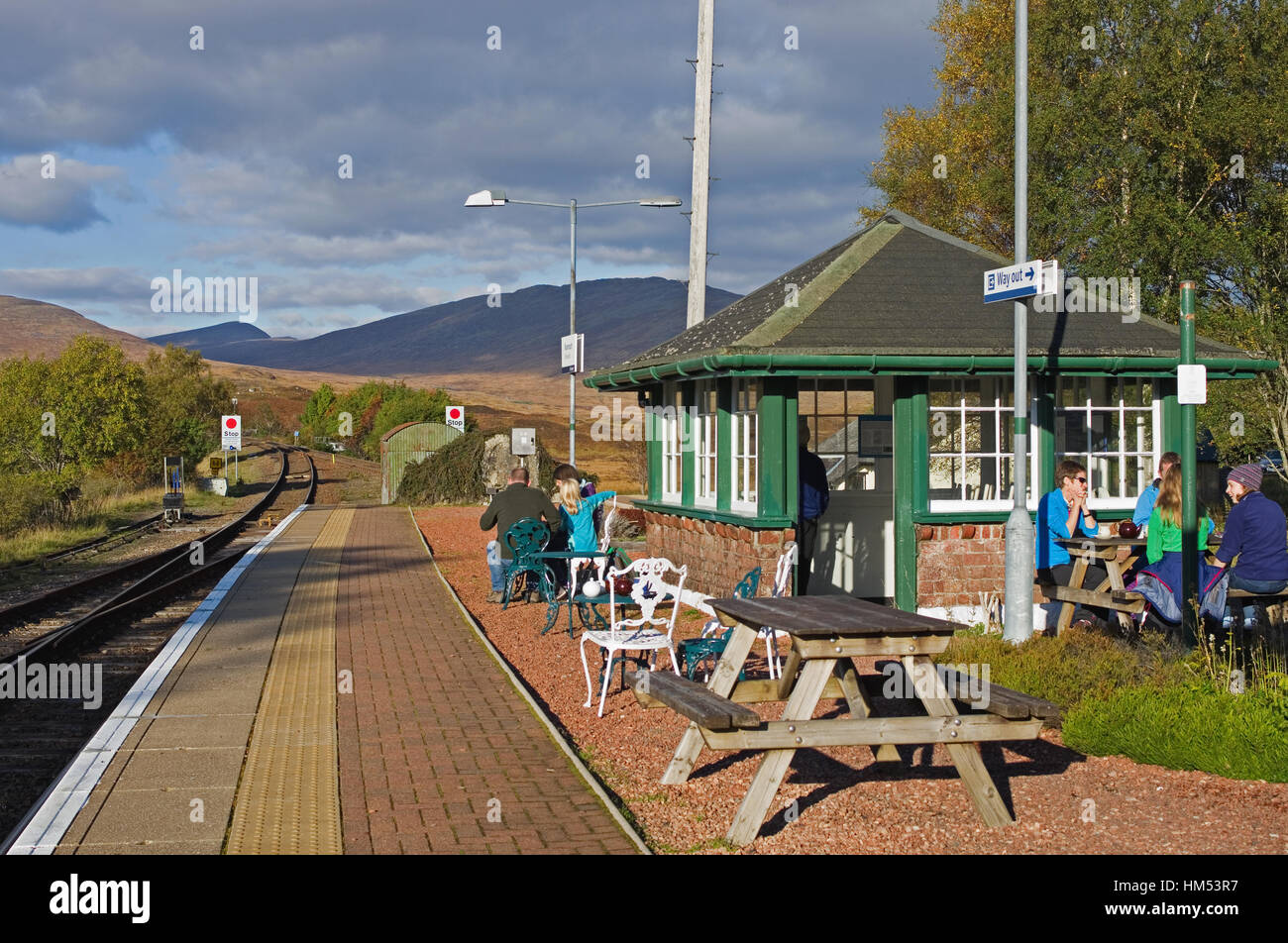 People Sitting Outside At Picnic Tables On The Platform Rannoch Railway Station Having Refreshments