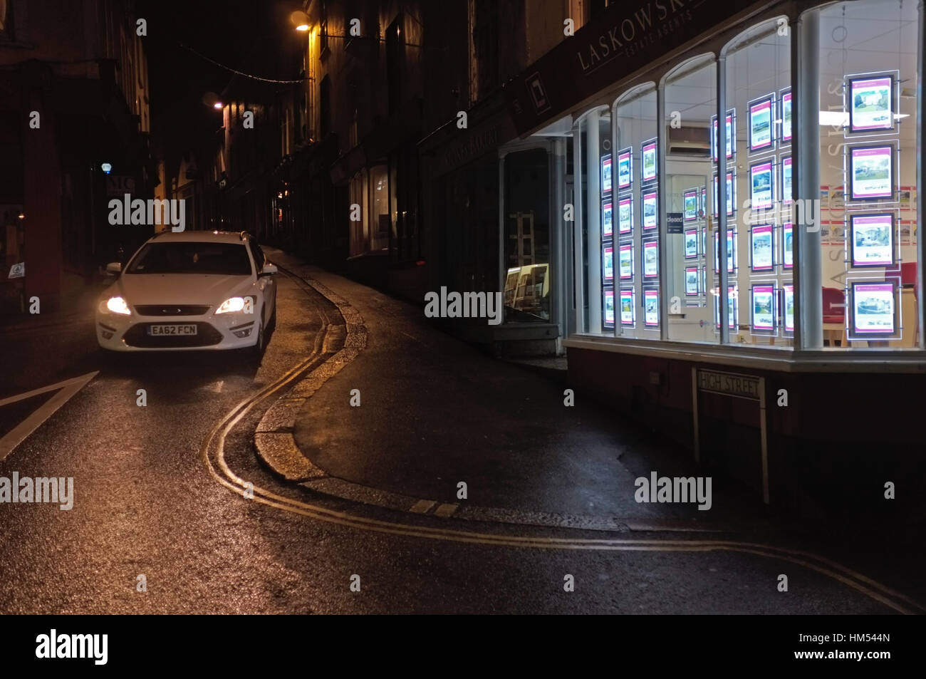 Property rental office at night. Stock Photo