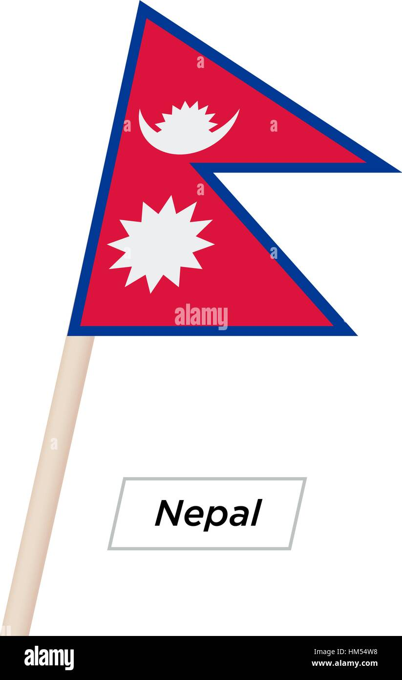 Nepal Ribbon Waving Flag Isolated on White. Vector Illustration. - Stock Vector