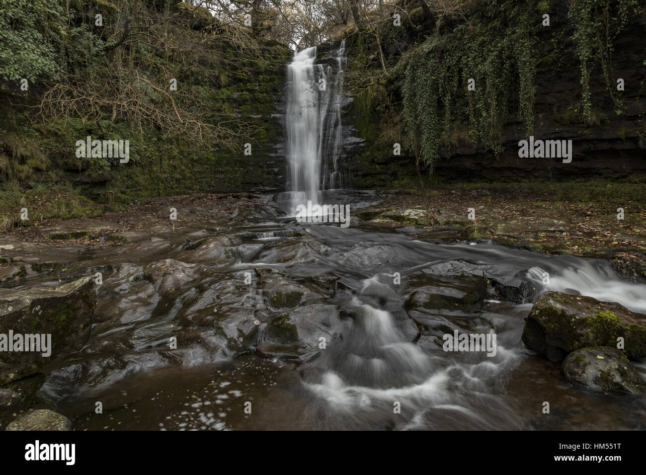 One of the Blaen y Glyn Waterfalls, on the River Caerfanell, (tributary of the Usk),  Brecon Beacons. - Stock Image
