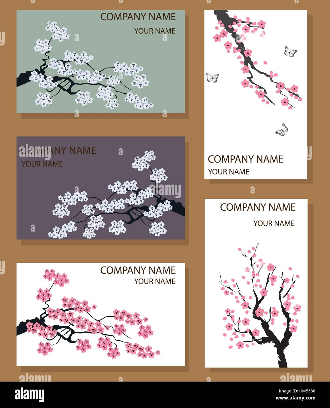 vector illustration of business card set with cherry blossom Stock ...