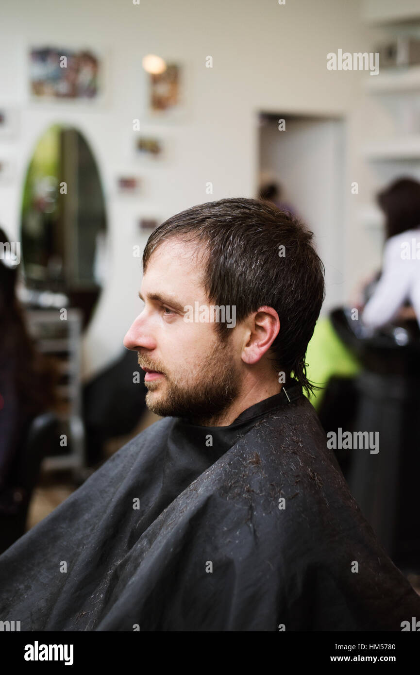 Hairdresser Getting New Male Haircut Stock Photos Hairdresser