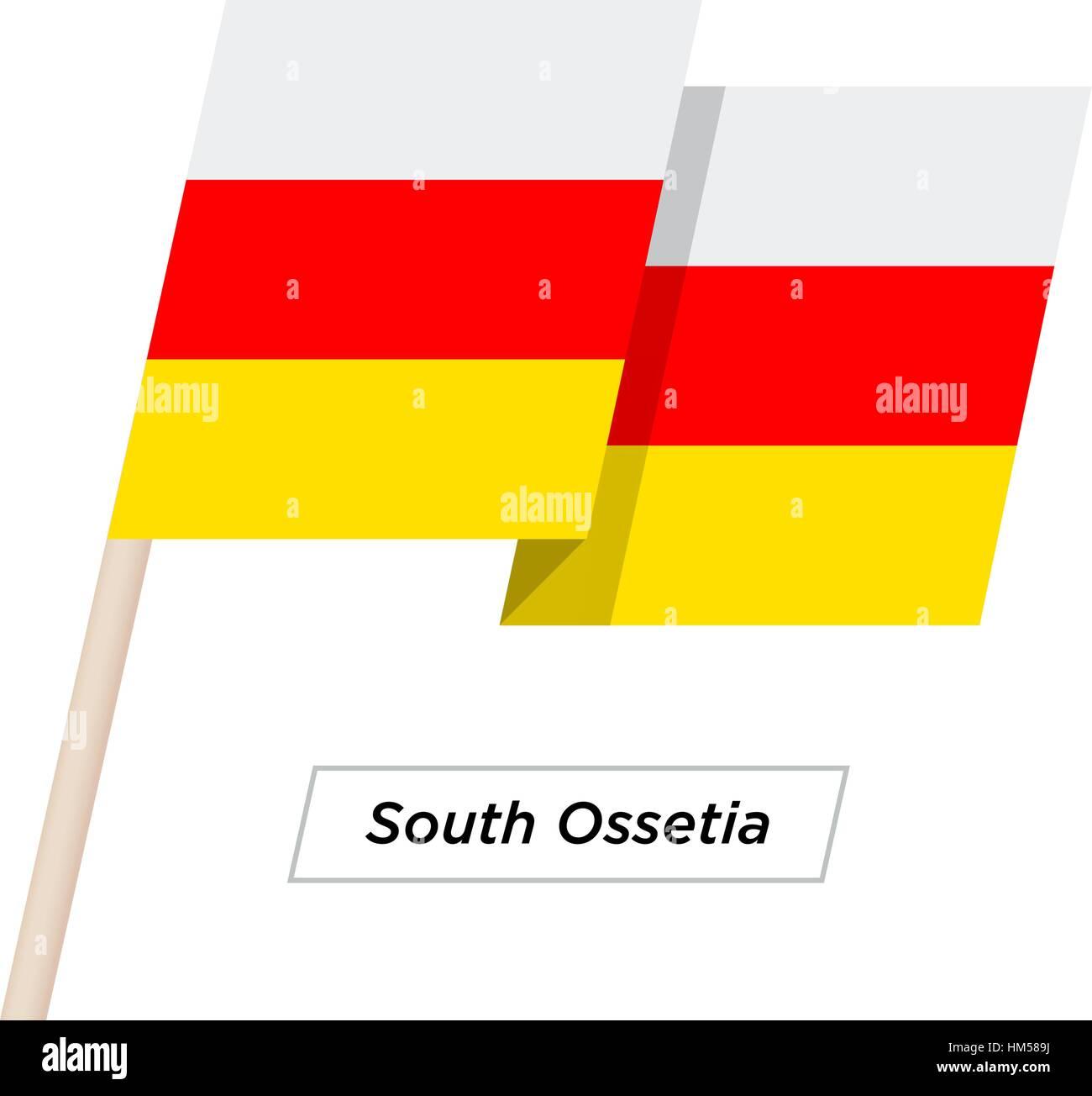 South Ossetia Ribbon Waving Flag Isolated on White. Vector Illustration. - Stock Image