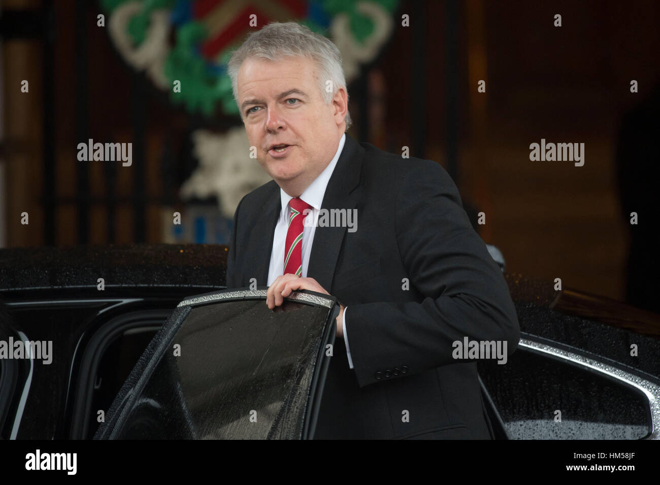 Michelle O'Neill, leader of Sinn Fein, arrives at a Joint Ministerial Committee (JMC) meeting at Cardiff City - Stock Image