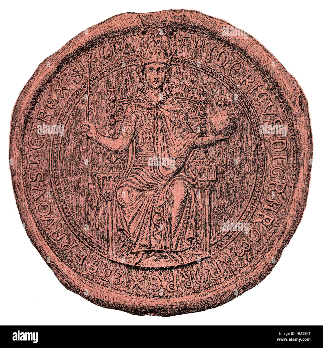 Seal of Frederick II, 1194-1250, King of Sicily, German Holy Roman Emperor - Stock Image
