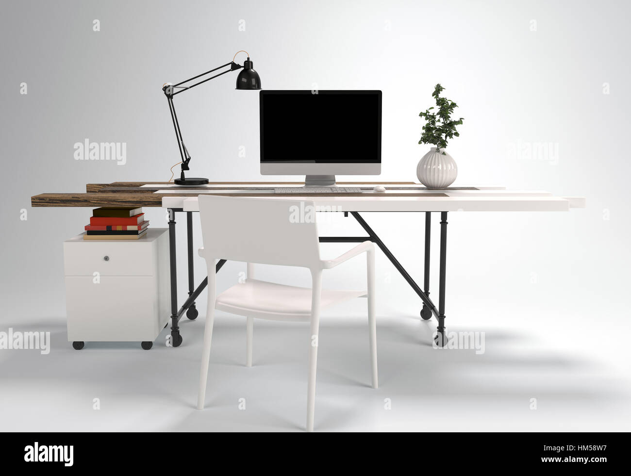 Working Desk With Chair Computer Lamp And Plant Isolated