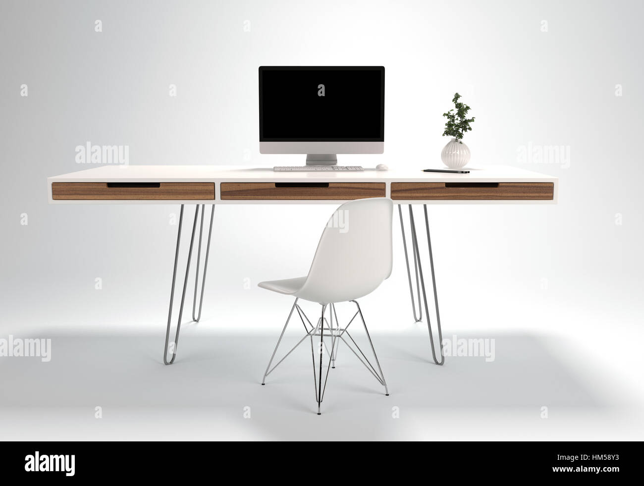 - Modern Workplace Design With Thin Wire Legs Desk And Light Chair