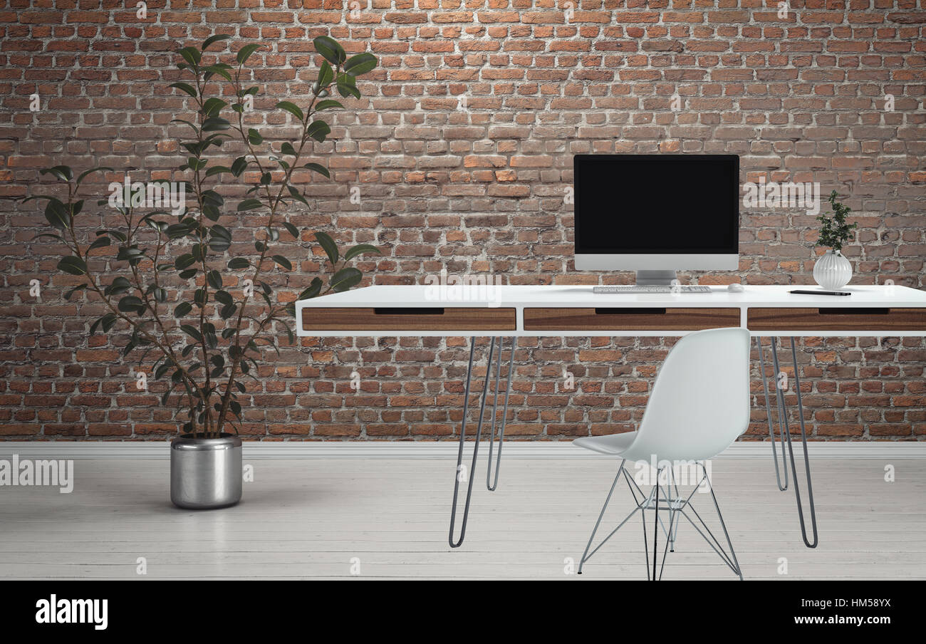 - Computer Desk On Thin Wire Legs With Chair And Plant On White