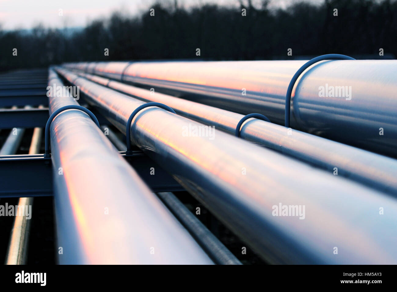 pipeline system in crude oil factory - Stock Image