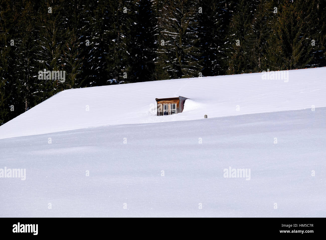 Window in the snow. Bavarian Alps. - Stock Image